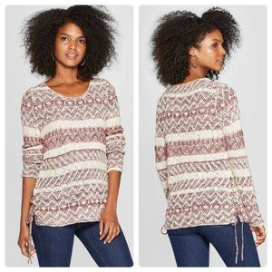 Scoop Neck Lace Up Side Detail Sweater XXL…